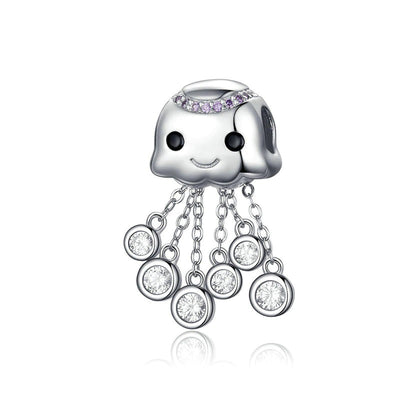 Baby Octopus Removable Sterling Silver Charm Bead Jewelry