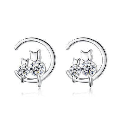 Kitty Cats On Crescent Moon Sterling Silver & Gemstone Small Stud Earrings