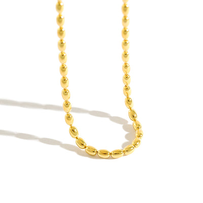 Large Ball Chain Beaded Pelline Clavicle Necklace In Gold Plated Sterling Silver