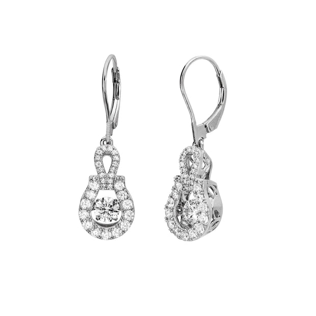 Leverback Swarovski Cubic Zirconia Sterling Silver Swinging Drop Earrings