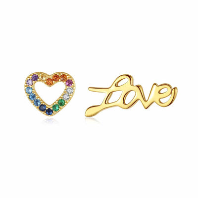 Love And Multi Colored Colorful Heart Candy Cubic Zirconia Stud Mismatched Earrings In 18K Gold Plated 925 Sterling Silver