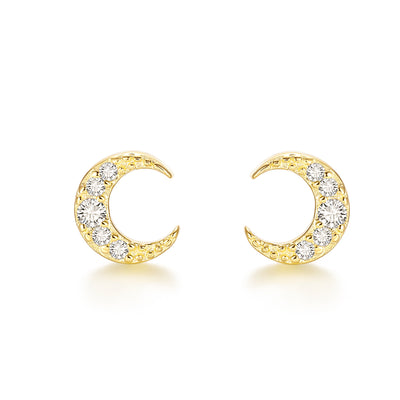 Mini Crescent Moon Starry Night Gold Plated Sterling Silver Stud Earrings