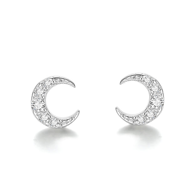 Mini Crescent Moon Starry Night 925 Sterling Silver Stud Earrings