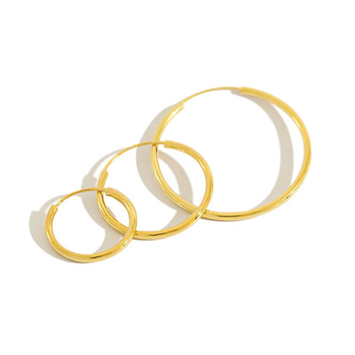 Minimalist Plain Circle Hoop Earrings In 18K Gold Plated Sterling Silver