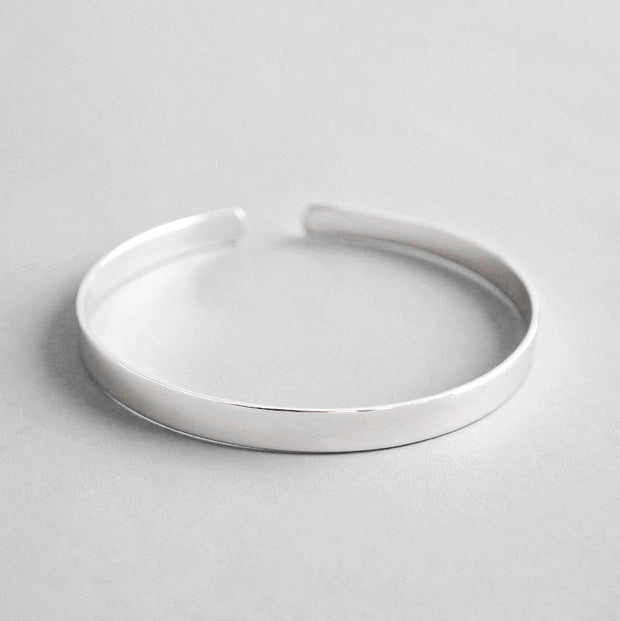 Minimalist Stackable 925 Sterling Silver 5mm Simple Solid Bracelet