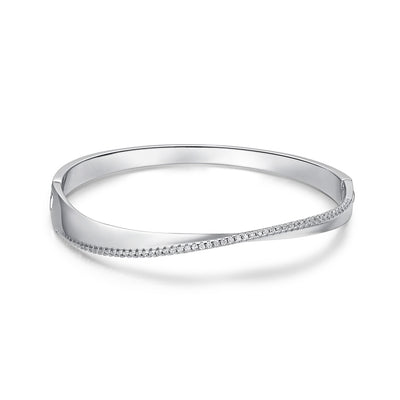 Mobius Style Twisted Bangle 925 Sterling Silver Zirconia Solid Bracelet