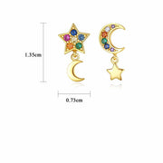 Multi Colored Colorful Candy Moon And Star Mismatched Cubic Zirconia Earrings In 18K Gold Plated 925 Sterling Silver