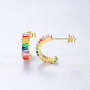 Multi Colored Colorful Candy Small Open Huggie Hoop Cubic Zirconia Earrings In 18K Gold Plated 925 Sterling Silver