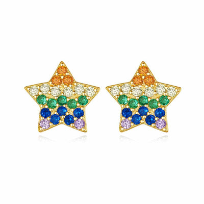 Multi Colored Colorful Star Candy Cubic Zirzonia Stud Earrings In 18K Gold Plated 925 Sterling Silver