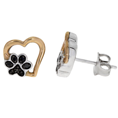 Natural 1/10 (0.08) Carat Black Diamond Puppy Heart Dog Paw Print Sterling Silver Stud Earrings