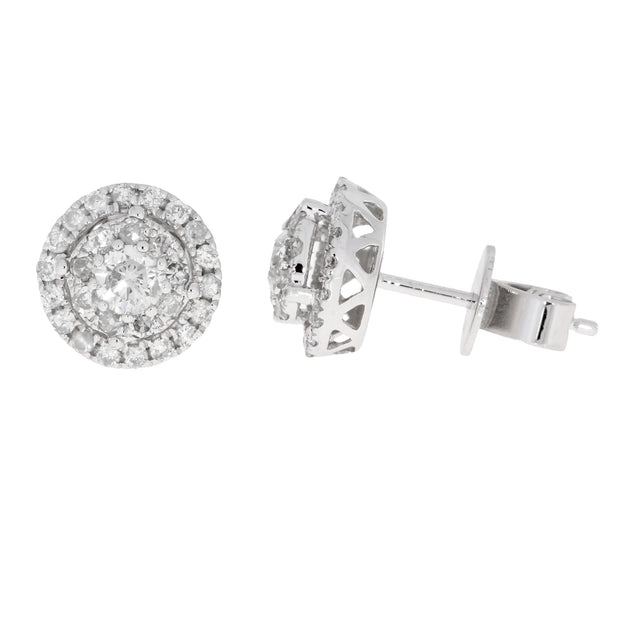 Natural 3/4 (0.70) Carat Diamond 14K White Gold Stud Earrings