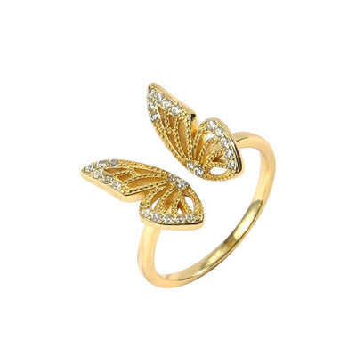 Open Butterfly 18k Gold Plated 925 Sterling Silver Ring
