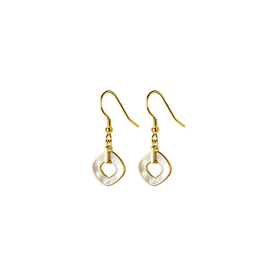Pearl Shell And 18K Gold Plated Sterling Silver Geometric Open Circle Drop Earrings