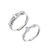 Princess And Prince Knight Matching Couples Promise Sterling Silver Adjustable Rings
