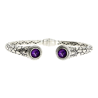 Purple Amethyst Stone Textured 925 Sterling Silver Vintage Cuff Bracelet
