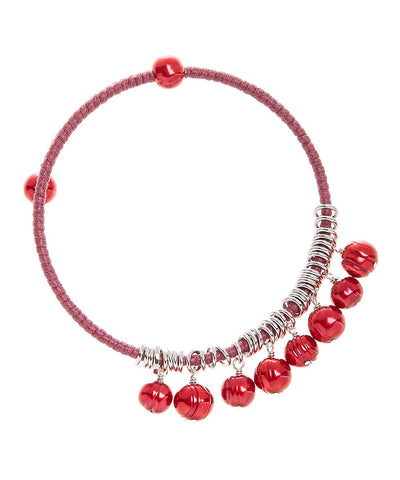 Honora Red Colored Fresh Water Pearl Bangle Stainless Steel Bracelet