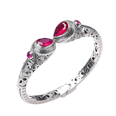 Red Corundum Sterling Silver Indonesian Ornament Style Women's Hollow Cut Cuff Bracelet