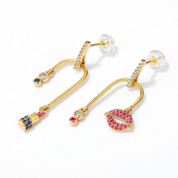 Red Lipstick Asymmetrical Gold Plated Sterling Silver Cubic Zirconia Lip Drop Earrings
