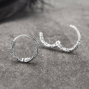 Retro Vintage Style Antique Sterling Silver Huggie Hoop Earrings