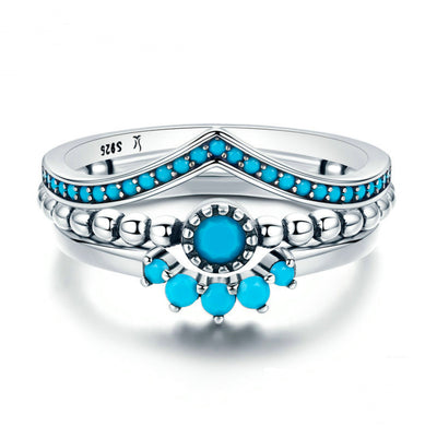 Silver & Turquoise Stackable Set Of Three Piece Bohemian 925 Sterling Rings