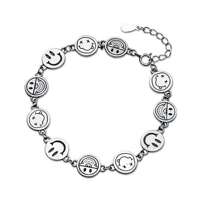 Smiley Silly Face Emoji Sterling Silver Emoticon Bracelet