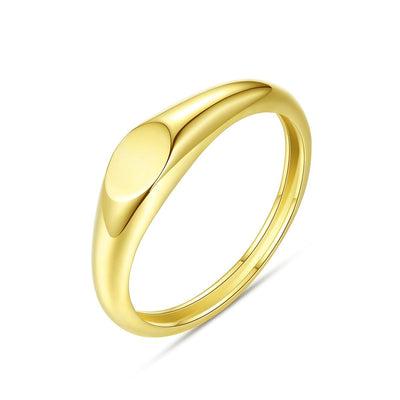 Solid Plain Small Signet 14K Gold Minimalist 4mm Stackable Ring