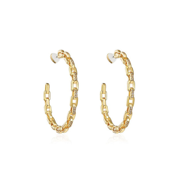 Sterling Silver J Hoop Chain Link Hoop Earrings