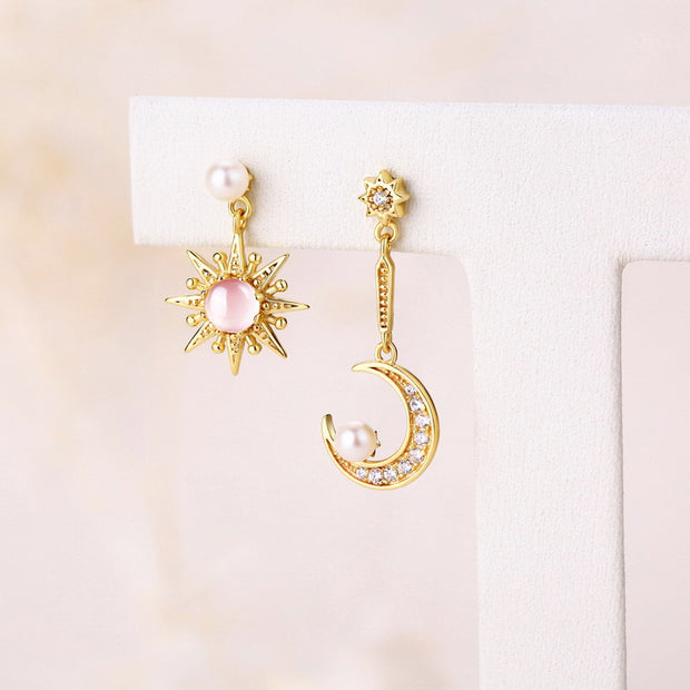 Sun Star And Moon Pearl Gemstone Sterling Silver Cubic Zirconia Gold Plated Drop Earrings