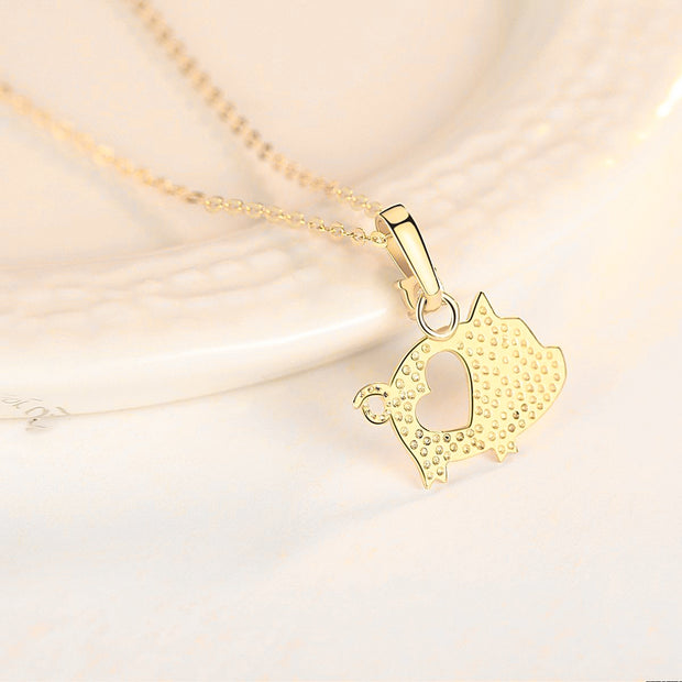 Super Cute 14K Gold Sweet Baby Piggy Love Heart Pig Necklace