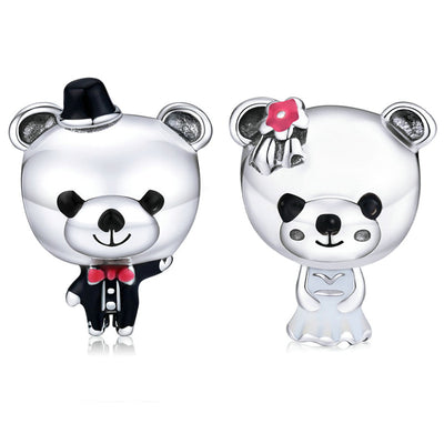 Super Cute Lady And Gentleman Wedding Couple Teddy Bear Sterling Silver Charm Bead For Bracelet