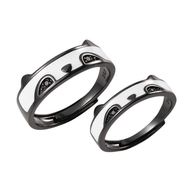 Super Cute Panda Bear Matching Couples Sterling Silver Adjustable Promise Ring