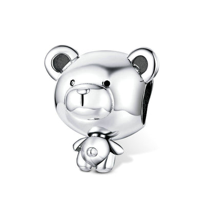 Super Cute Teddy Bear Sterling Silver Charm Bead Accessory For Bracelet