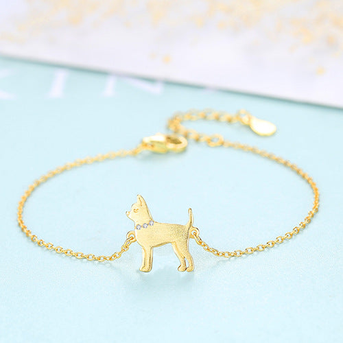 Terrier Dog With Gemstone Collar 18K Gold Plated Sterling Silver Bracelet