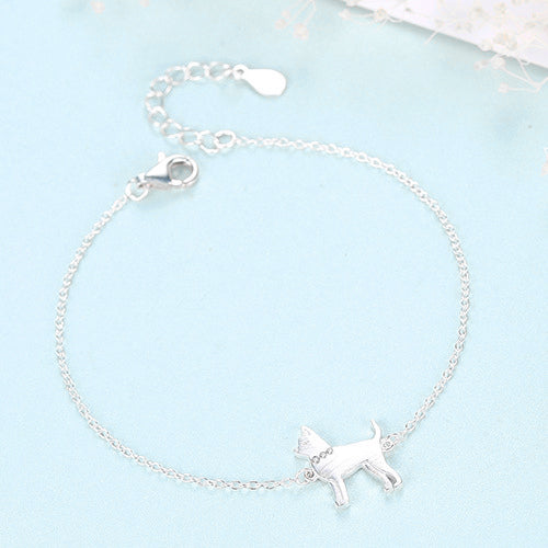 Terrier Dog With Gemstone Collar Rhodium Plated Sterling Silver Bracelet