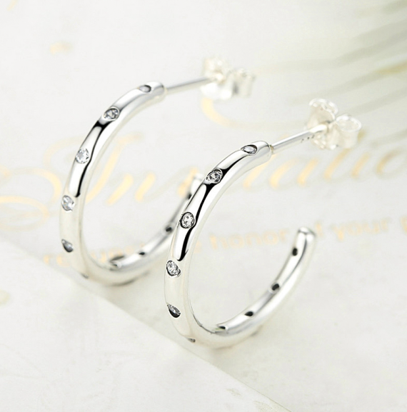 3/4 Hoop Huggie 925 Sterling Silver & Cubic Zirconia Earrings