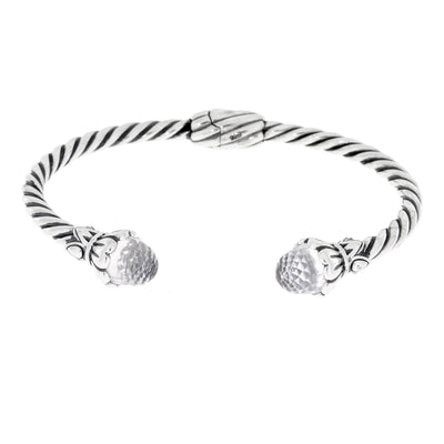 Twisted Spiral Cable 925 Sterling Silver Vintage Cuff Bracelet With Cubic Zirconium Gemstones