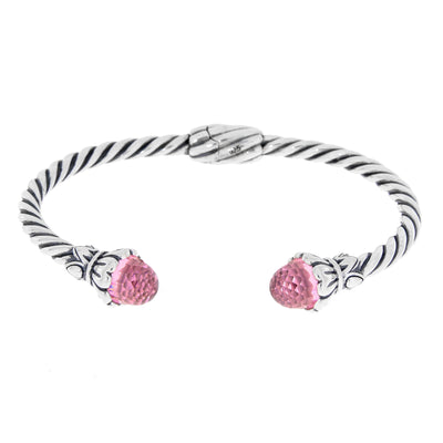 Twisted Spiral Cable 925 Sterling Silver Vintage Cuff Bracelet With Pink Cubic Zirconium Gemstones