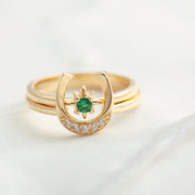 U Shaped Horseshoe North Star 2 Piece 18K Gold Plated Sterling Silver Ring Set