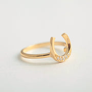 U Shaped Horseshoe 18K Gold Plated Sterling Silver Ring