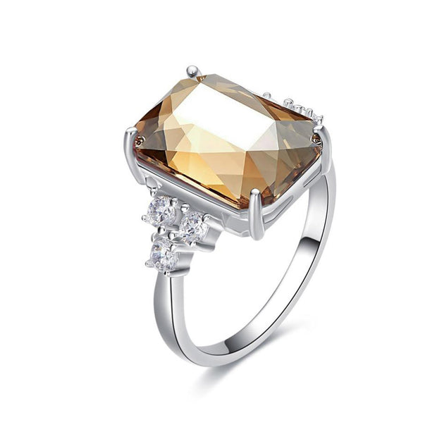 925 Sterling Silver Embellished Square Swarovski Crystal Ring