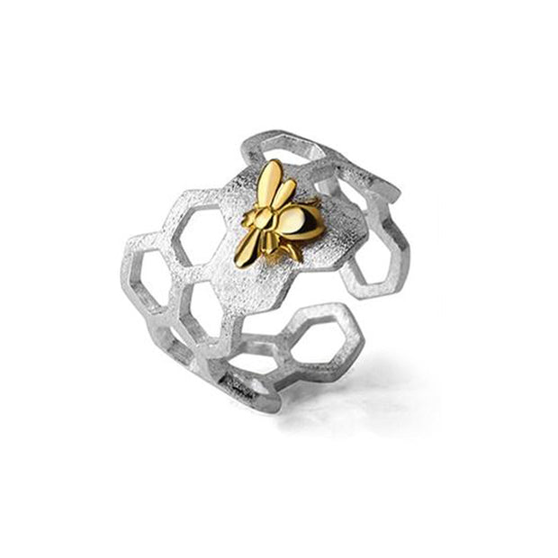Honeycomb Gold Plated Bumble Bee & Sterling Silver Ring