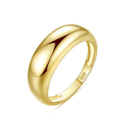 Wide 6mm Chunky Dome Minimalist 14K Gold Plain Solid Ring