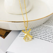 Windmill House Clavicle Gold Plated Sterling Silver CZ Necklace