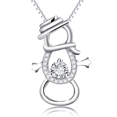Winter Jolly Snowman 925 Sterling Silver Cubic Zirconia Necklace