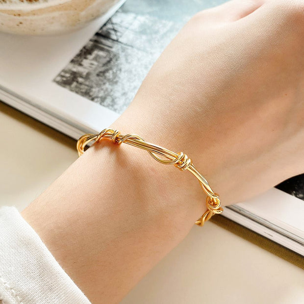 Wire Twist Style Minimalist 18K Yellow Gold Plated Sterling Silver Bracelet