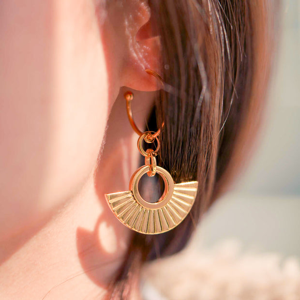 Woman Wearing Ancient Golden Fan Shaped 18K Gold Plated Sterling Silver Dangle Drop Earring