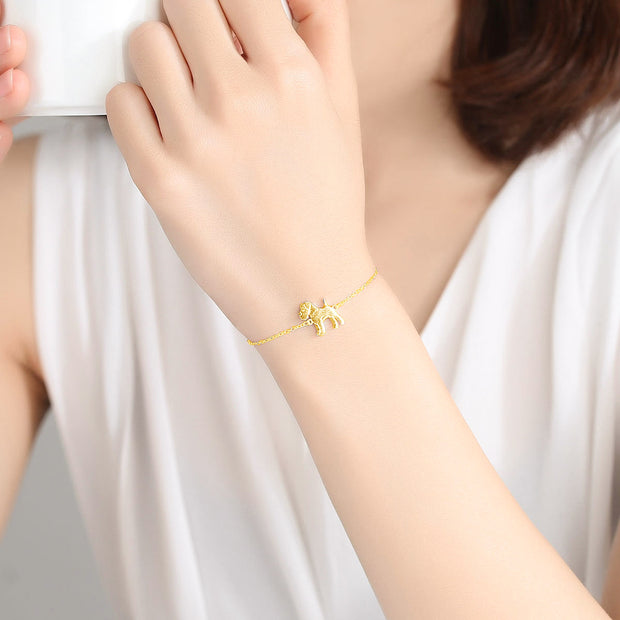 Woman Wearing Cute Bulldog With Gemstone Collar 18K Gold Plated Sterling Silver Bracelet