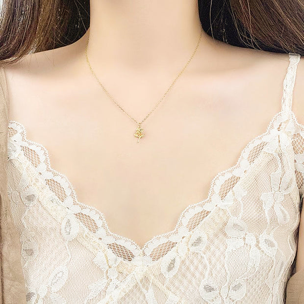 Woman Wearing Dainty Rose Flower 18K Gold Plated 925 Sterling Silver Necklace