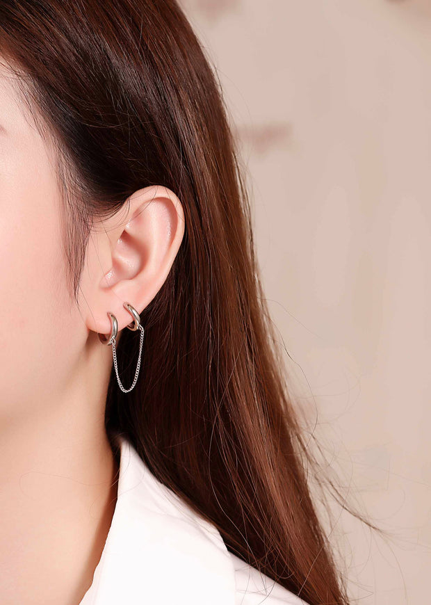 Woman Wearing Double Pierced Two Hole Huggie Chain 925 Sterling Silver Earring
