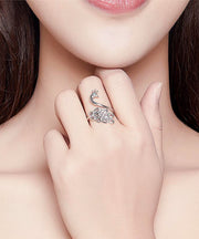 Woman Wearing Elegant Peacock Platinum Plated 925 Sterling Silver Ring